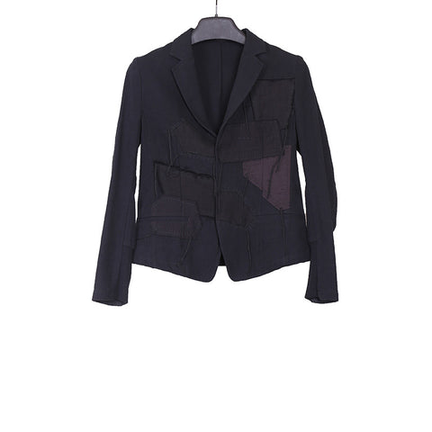 Y'S BY YOHJI YAMAMOTO 15SS HIDDEN TWO BUTTON CLOSURE PATCHWORK SHORT JACKET