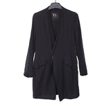Y'S BY YOHJI YAMAMOTO 15SS COLLARLESS SINGLE BUTTON CLOSURE LIGHT WEIGHT LONG BLAZER