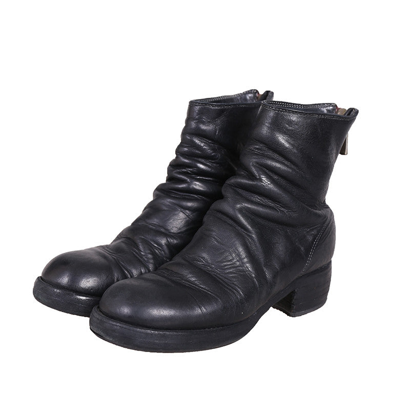 GUIDI 796Z HORSE FULL GRAIN BACK ZIP LEATHER BOOTS