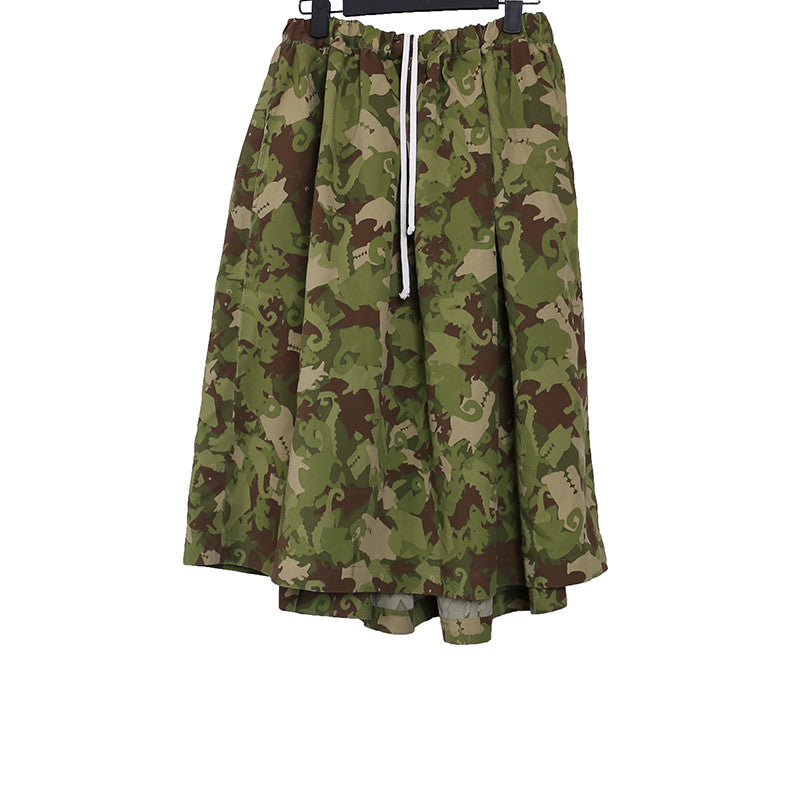 BLACK COMME DES GARCONS CAMOUFLAGE PRINT POLYESTER WIDE ASYMMETRIC DRAWSTRING ELASTICATED WAIST SKIRT