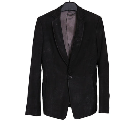 JULIUS_7 09SS LAMB LEATHER SINGLE BUTTON CLOSURE BLAZER