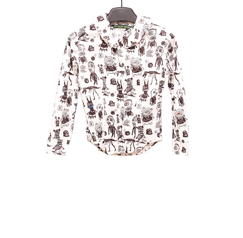 PAUL HARNDEN SHOEMAKERS  'MONSTER' PRINT  COTTON RUFFLED COLLAR SHIRT