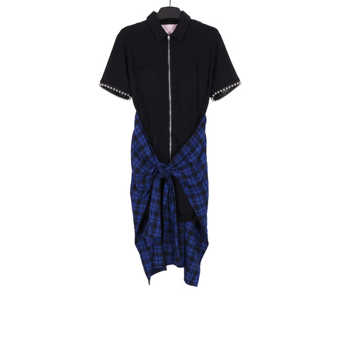 1017 ALYX 9SM AW17 BLACK SHORT SLEEVE COTTON TIE SHIRT DRESS