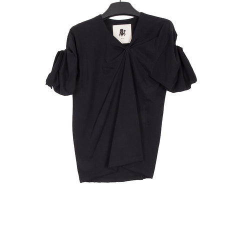 AGANOVICH SS18 BLACK COTTON ASYMMETRIC GATHERED DETAIL T-SHIRT