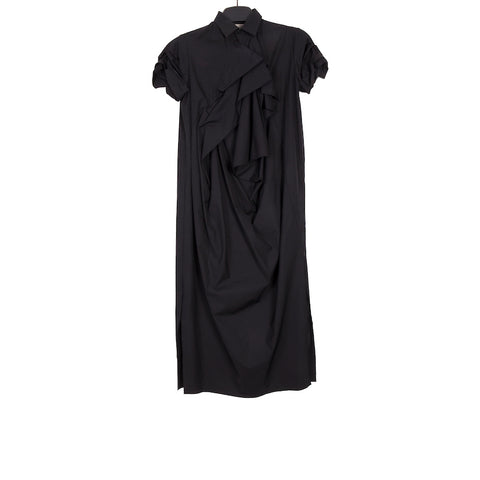 AGANOVICH SS18 BLACK COTTON GATHERED DETAIL POP GATSBY DRESS