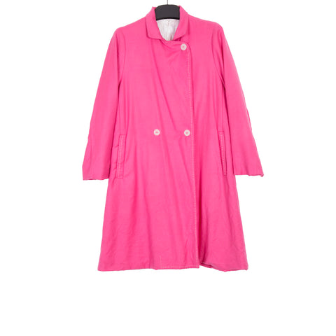 CASEY CASEY AW17 PINK WAHSED WOOL LONG SLEEVE COAT