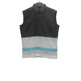 RAF SIMONS SS12 STRIPE PLAID PANEL SLEEVELESS SHIRT