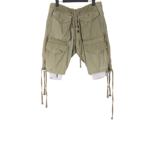 GREG LAUREN SS18 ARMY GREEN COTTON ARMY JKT FLEECE ZIPPER LOUNGE SHORT
