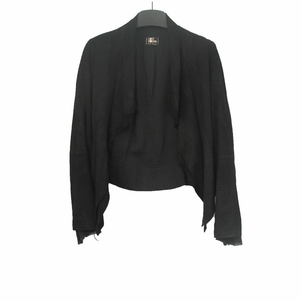 LOST AND FOUND DRAPE FRONT GOAT LEATHER JACKET