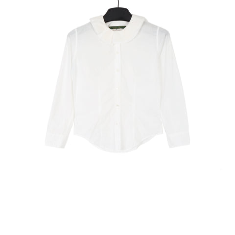 PAUL HARNDEN WHITE RUFFLE COLLAR SHIRT IN SUMMER WEIGHT COTTON