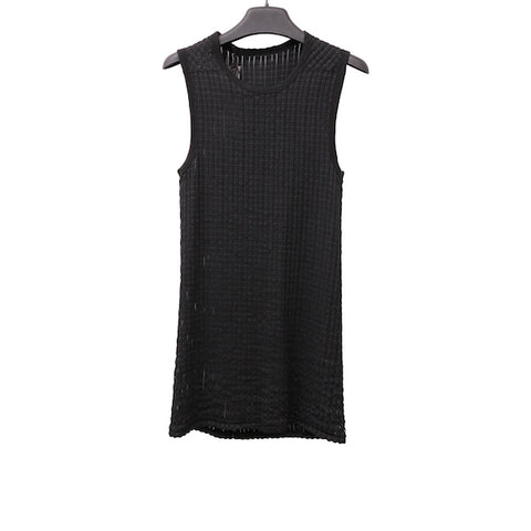 BORIS BIDJAN SABERI BLACK COTTON TANK 2 TANK TOP