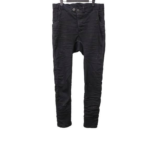 BORIS BIDJAN SABERI P14 BLACK COTTON HAND STITCHED DROP CROTCH PANTS
