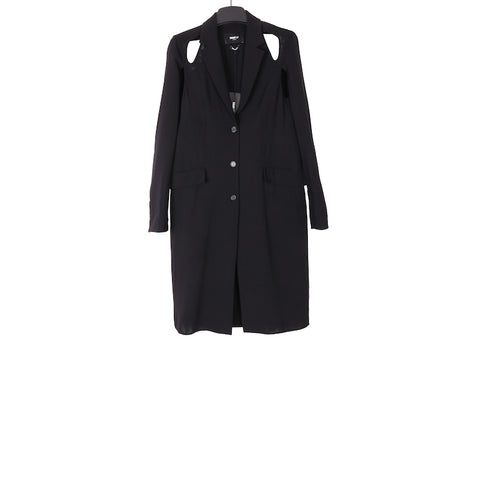 YANG LI SS18 BLACK CUT OUT WOOL COAT