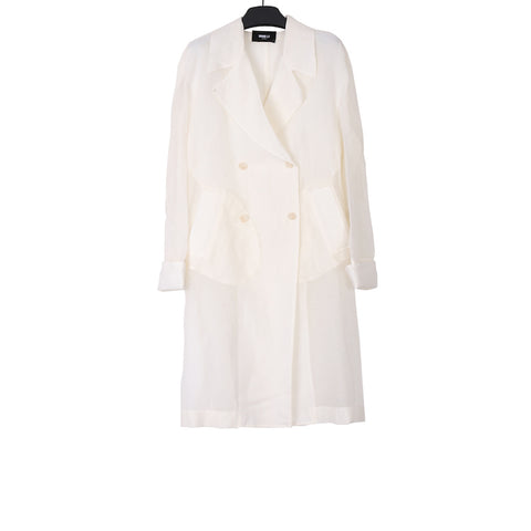 YANG LI SS18 OFF WHITE DOUBLE BREASTED COAT