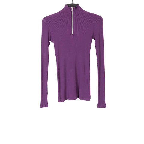 YANG LI SS17 PURPLE FRONT ZIP JERSEY LONG SLEEVE TOP