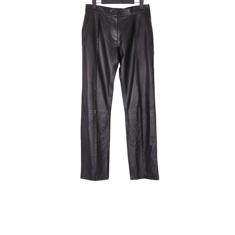 YANG LI AW17 BLACK EXPOSED SEAM LEATHER TROUSERS