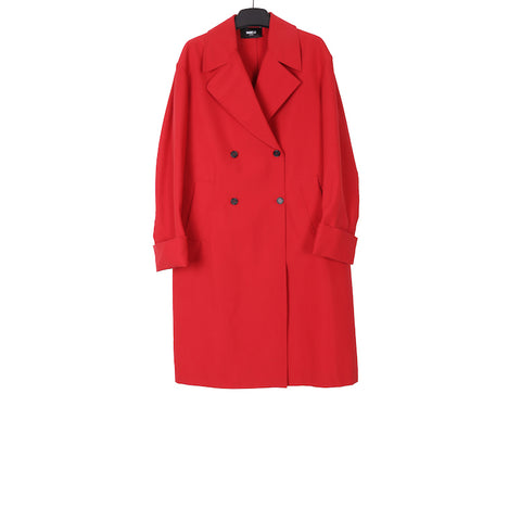 YANG LI SS18 RED DOUBLE BREASTED OVERSIZED COAT