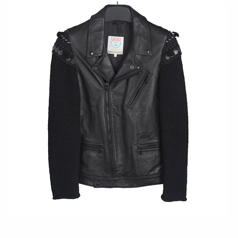 UNDERCOVER UNDERCOVERISM 09AW ETHNIC KNIT SLEEVE LEATHER PERFECTO RIDER JACKET