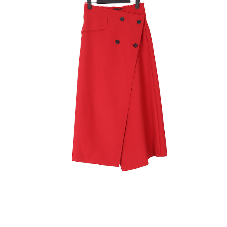 YANG LI SS18 RED CUT OFF BUTTON DETAIL OVERKNEE SKIRT