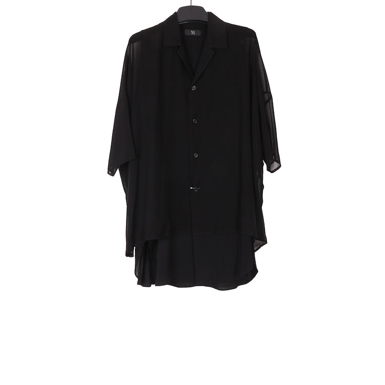 Y'S SS18 BLACK HALF SLEEVE LAYERED COTTON SHIRT
