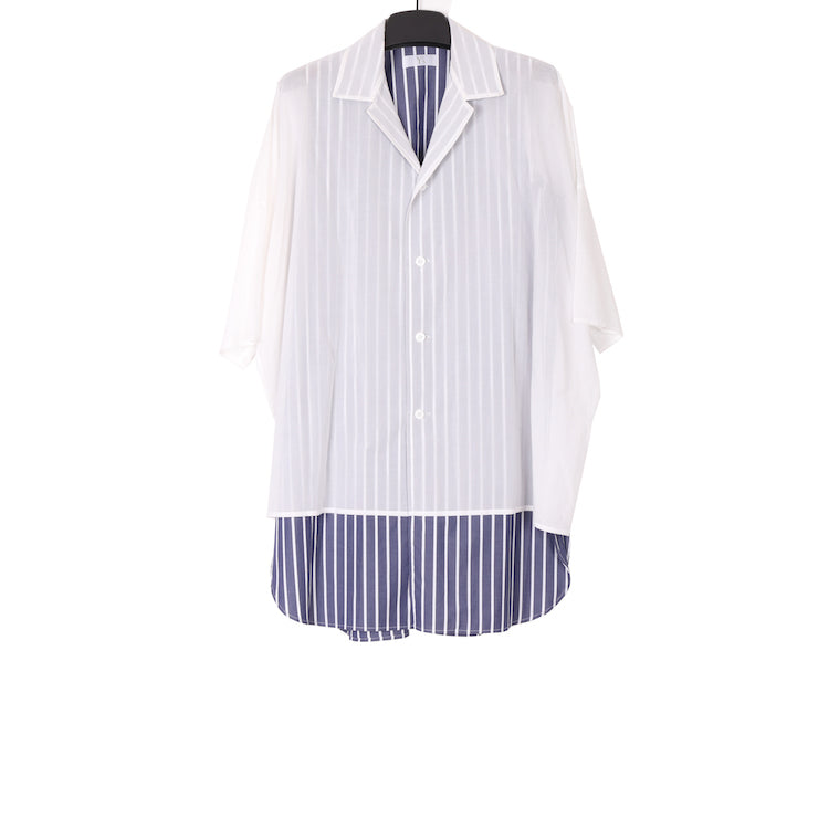 Y'S SS18 WHITE & STRIPE HALF SLEEVE LAYERED COTTON SHIRT