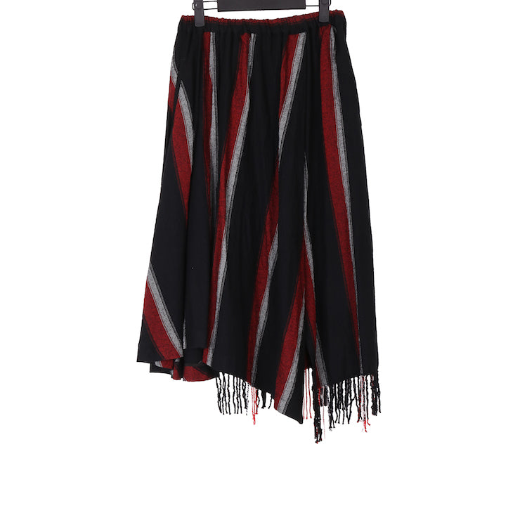Y'S AW17 N-R FLARED OBLIQUE WOOL OVERKNEE SKIRT