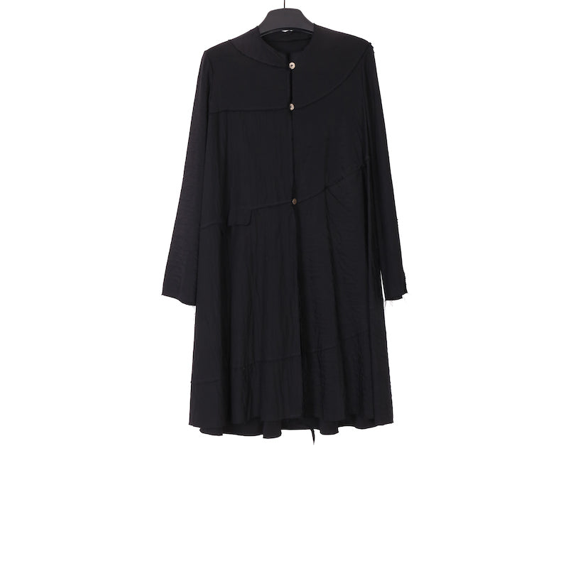 M.A+ BLACK SPIRAL BODY UNLINED WIDE COAT