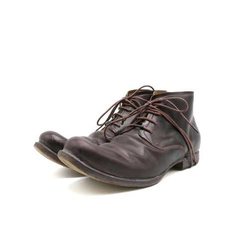 LAYER-0 BORDEAUX COLOUR CARDOVAN MID-TOP LACE UP BOOTS