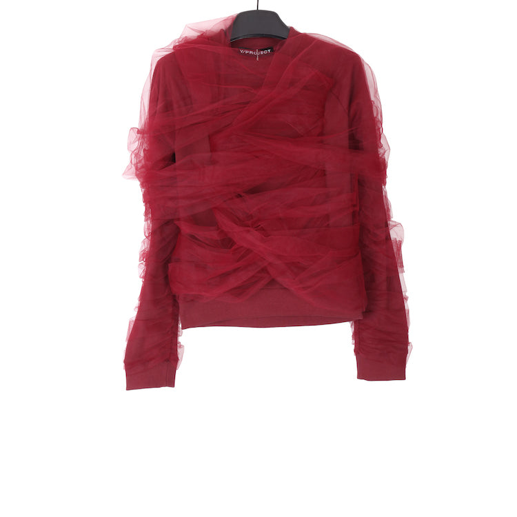 Y/PROJECT SS18 BURGANDY COTTON WRAPPED SWEATSHIRT WITH POLYAMIDE APPLICATION