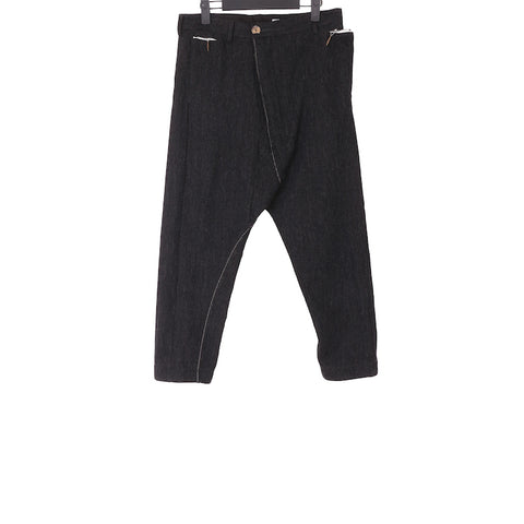 TAICHI MURAKAMI AW17 LOW CROTCH TROUSER IN BRITISH WOOL WITH RAMIE METAL EDGE