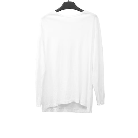 YOHJI YAMAMOTO WHITE COTTON LONG SLEEVE STAFF T-SHIRT