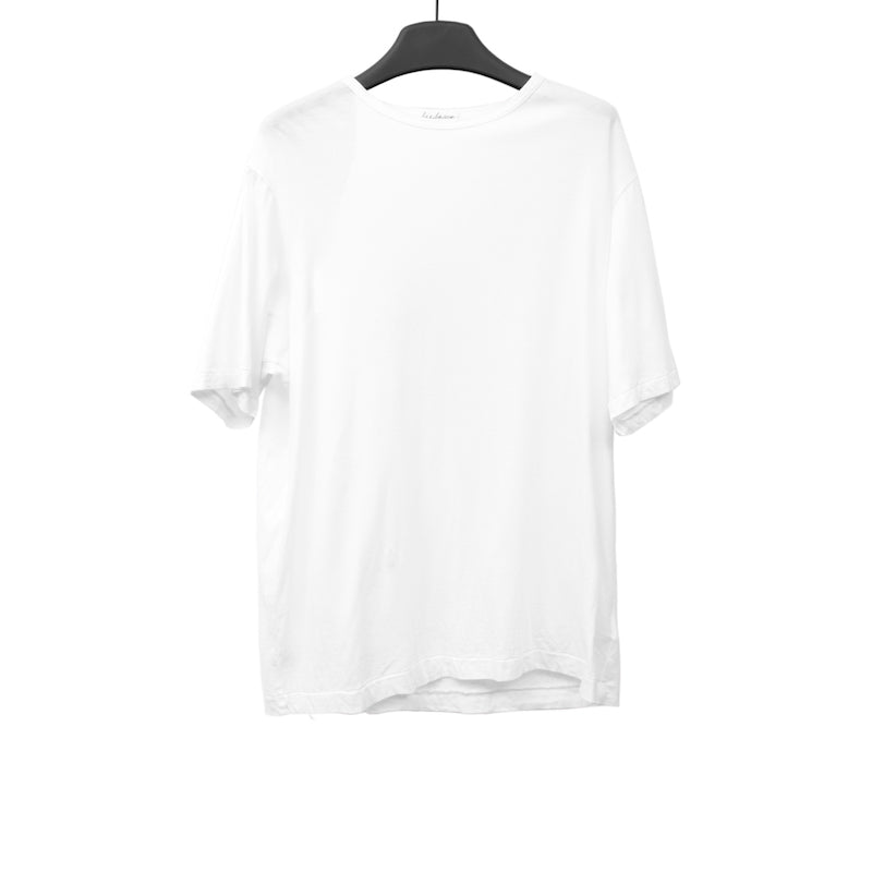 YOHJI YAMAMOTO WHITE COTTON SHORT SLEEVE STAFF T-SHIRT