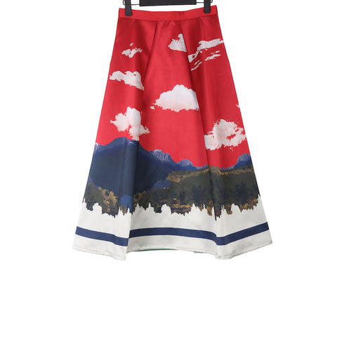 UNDERCOVER SS18 REVERSIBLE LANDSCAPE PRINT SILK SKIRT IN POLYESTER AND SILK