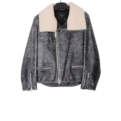 UNDERCOVER AW17 COWHIDE HIGHNECK SHEARLING LEATHER JACKET