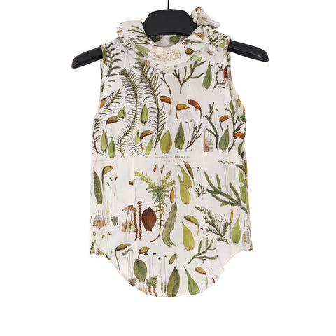 PAUL HARNDEN SS17 COTTON PLANT PRINT SLEEVELESS SHIRT WITH FENCING COLLAR