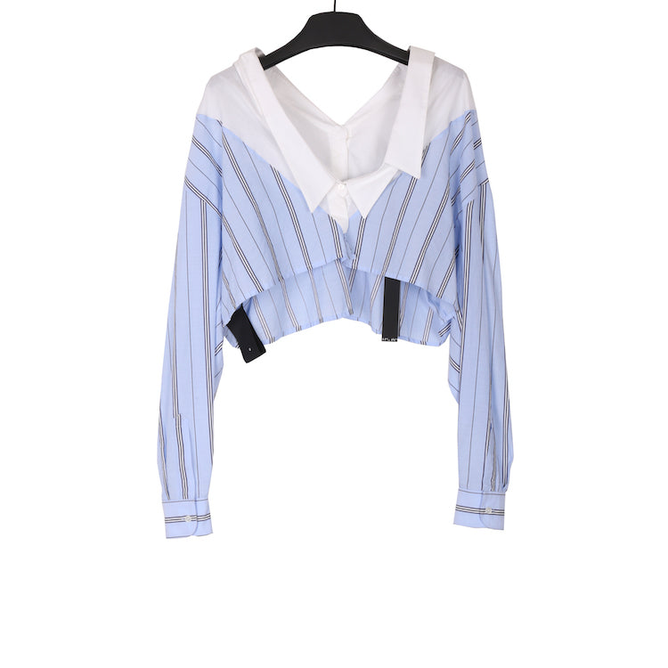 UNRAVEL PROJECT SS18 STRIPE HYPRID CHOP V-NECK SHIRT