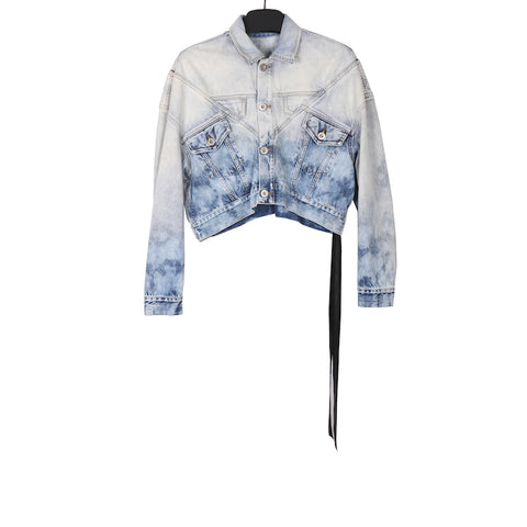 UNRAVEL PROJECT SS18 LINES HYBRID CHOPPED DENIM JACKET