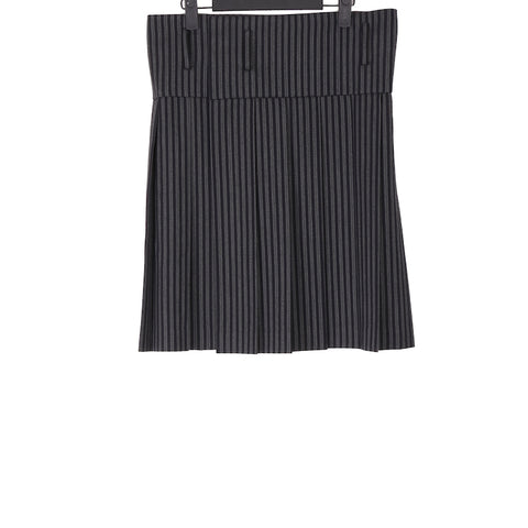 COMME DES GARCONS HOMME PLUS AW12 BLACK STRIPE PLEATED WOOL SKIRT