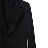 YOHJI YAMAMOTO SINGLE FLORAL LAPEL ONE BUTTON CLOSURE WOOL BLAZER