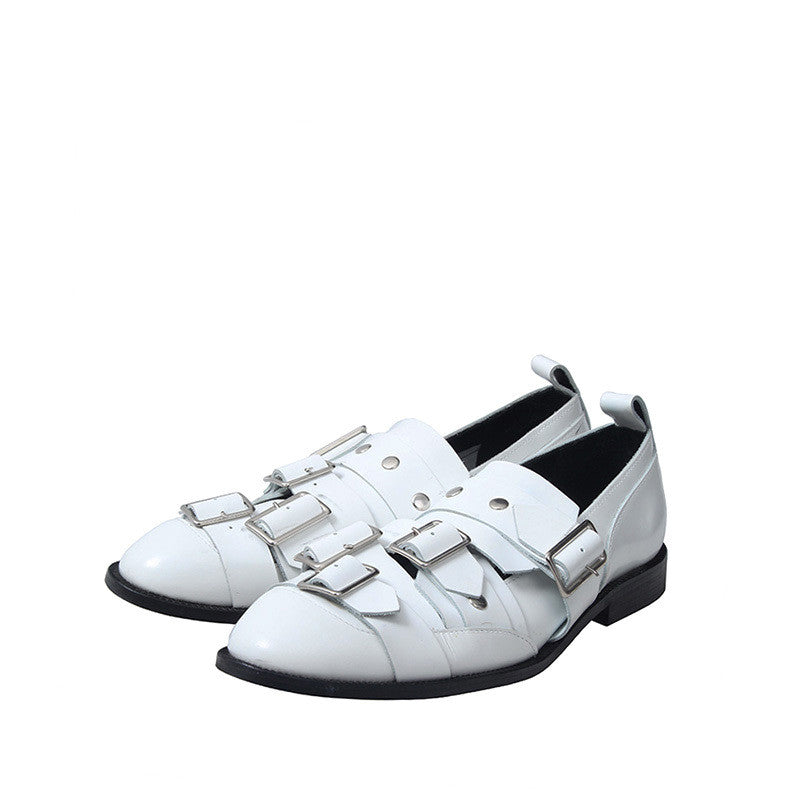COMME DES GARCONS 14AW LEATHER SLIP ON OXFORD BUCKLE SHOES