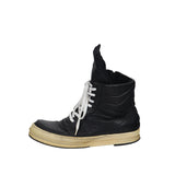 RICK OWENS ORIGINAL DUNK BLACK LEATHER HIGH TOP SNEAKERS