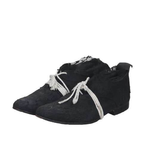 ELENA DAWSON LEATHER LACE UP DERBY WITH LACE APPLIQUE
