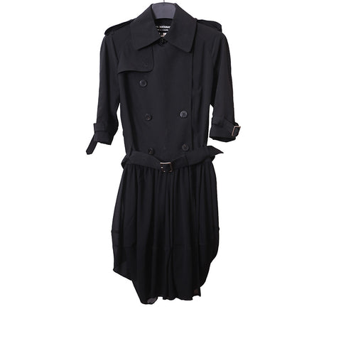 JUNYA WATANABE COMME DES GARCONS 1/2 SLEEVE DOUBLE BREAST WOOL TRENCH COAT WITH PLEATED SKIRT BOTTOM
