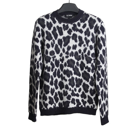 RAF SIMONS LEOPARD MOAHIR KNIT SWEATER