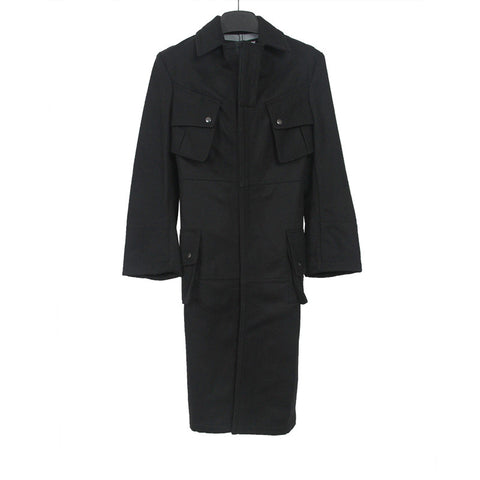 JUNYA WATANABE COMME DES GARCONS 07AW WOOL BLEND MULTIPL POCKETS MILITARY COAT
