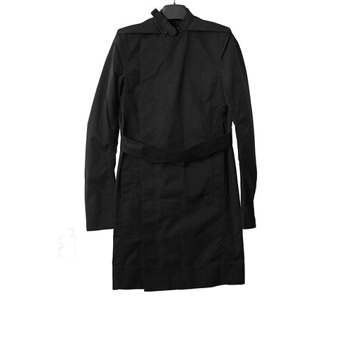 RICK OWENS NYLON BLEND BELTED BUTTON CLOSURE TRENCH COAT