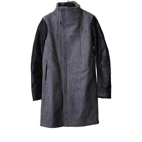 "BORIS BIDJAN SABERI ""STRUCTURISM"" HIGH NECK LEATHER SLEEVE LONG WOOL COAT"