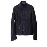 JULIUS_7 13AW SLIGHTLY WAXED STAND COLLAR ZIP UP LAMB NUBUCK LEATHER JACKET