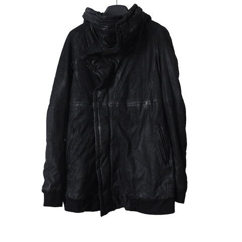 JULIUS_7 13AW WAXED PADDED ZIP UP HIGH NECK LAMB NUBUCK LEATHER JACKET