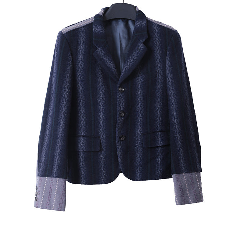 COMME DES GARCONS 91AW LAINE WOOL BLEND STRIPED DOT STITCH DOUBLE LAYERED SLEEVE BUTTON DOWN JACKET